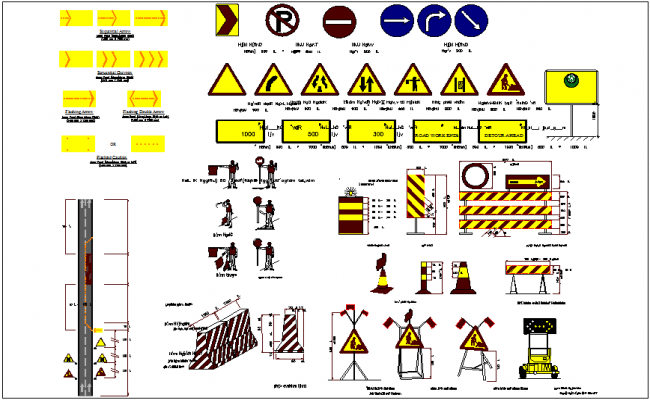 Detours plan with traffic sign and symbol with road view dwg file