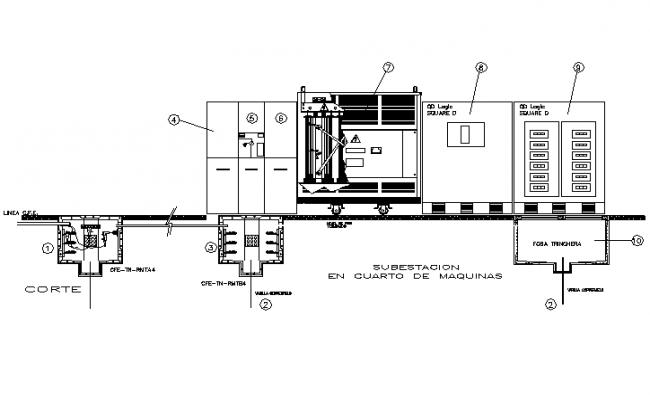 Diagram aunifilar substation 1000 kv detail dwg file