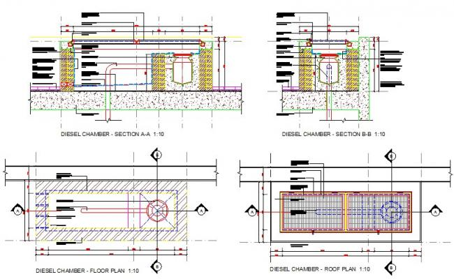 Diesel chamber detail plan and section drawings