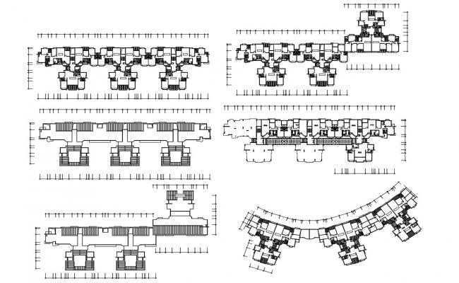 Different Floor Plan Apartment With Basic Detail AutoCAD File