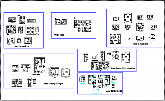Different area design view of hospital with dimension dwg file