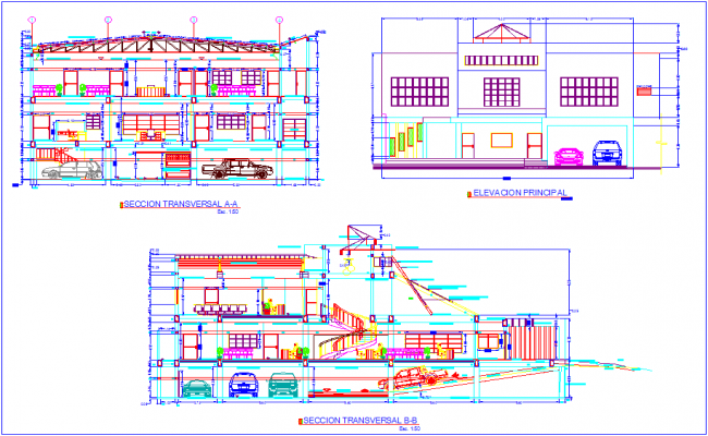Different axis elevation and section view for bank building dwg file