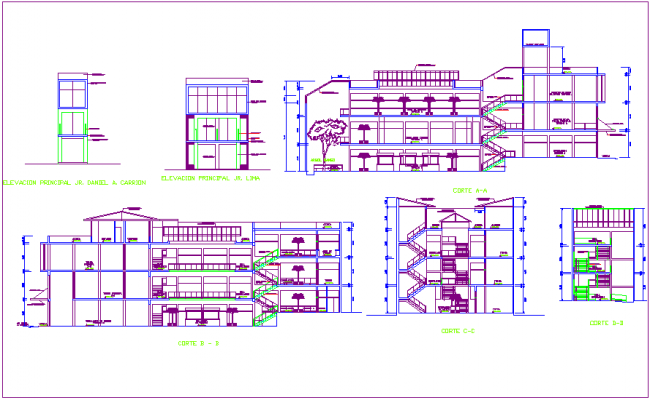 Different axis elevation and section view for commercial building dwg file