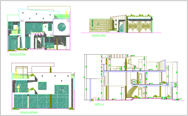 Different axis elevation and section view of residential area dwg file