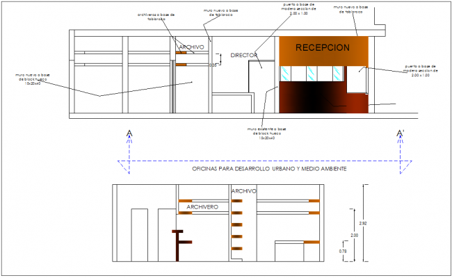 Different axis elevation and view for office building dwg file