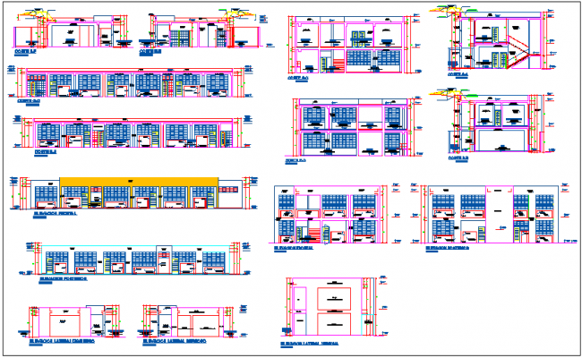 Different axis section view and elevation of education center dwg file