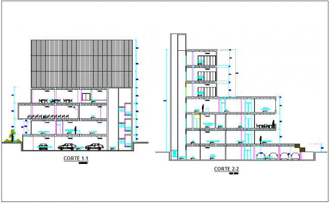 Different axis section view for regional building dwg file