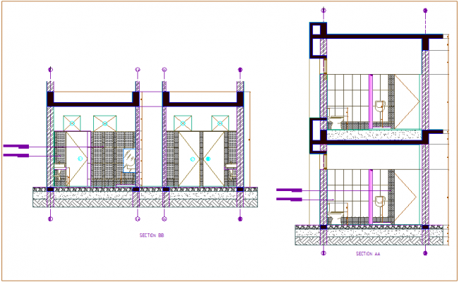 Different axis section view of public toilet dwg file