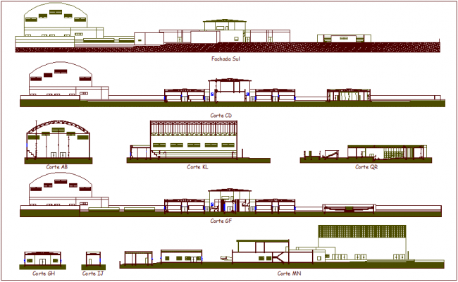 Different axis section view of school dwg file