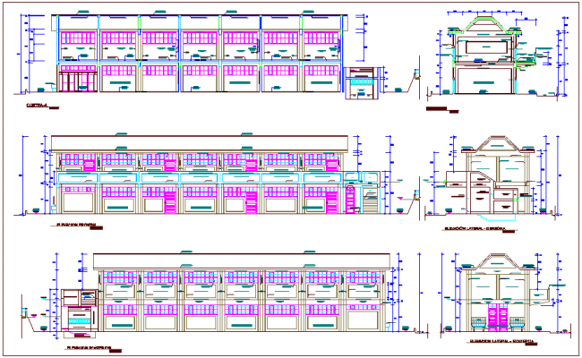 Different axis sectional view and elevation view of collage dwg file