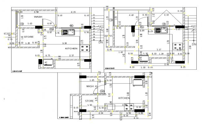 Different building structure detail layout plan