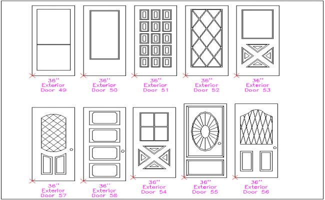 Different door design view with different size door block dwg file  sc 1 st  Cadbull & door design view with different size door block dwg file