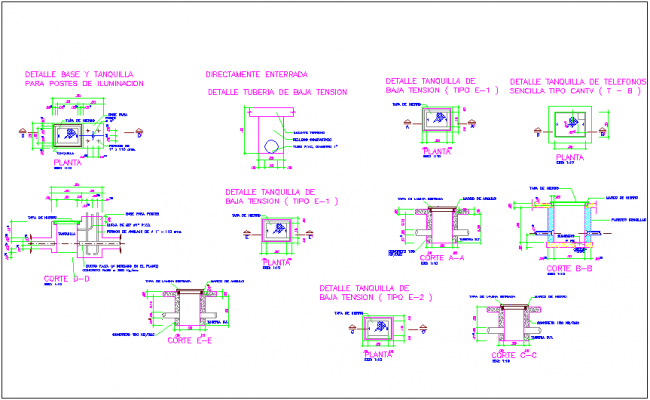 Different electrical joint detail view for lighting of classroom dwg file