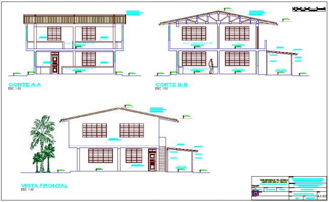 Different elevation and section view of laboratory dwg file