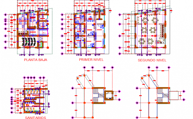 Different layout plans dwg file