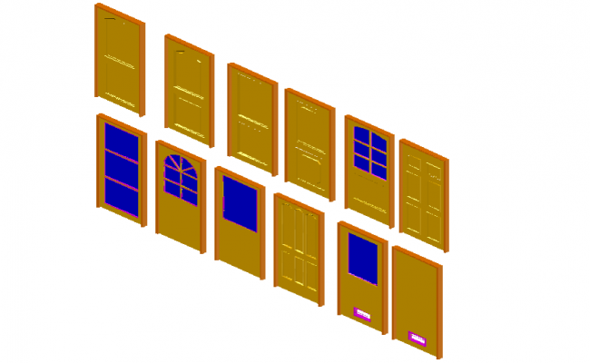 Different model view of door in 3d