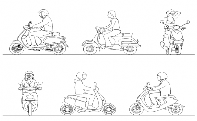 Different people on vehicle detail elevation 2d view layout file