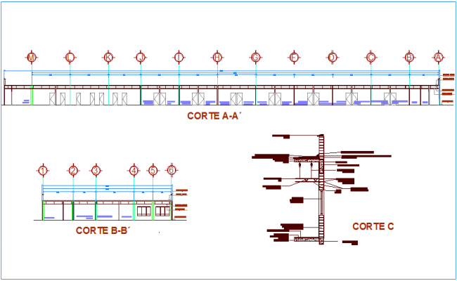 Different section view of clinic with construction detail dwg file