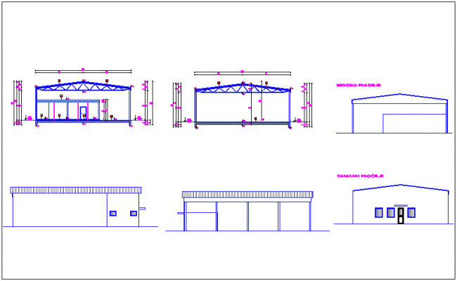 Different side elevation and section view for industrial plant dwg file