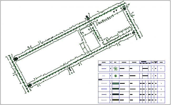 Different tree plant logo view in plan dwg file