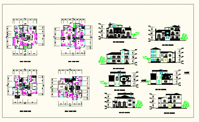 Different type of Bungalows Detail Project