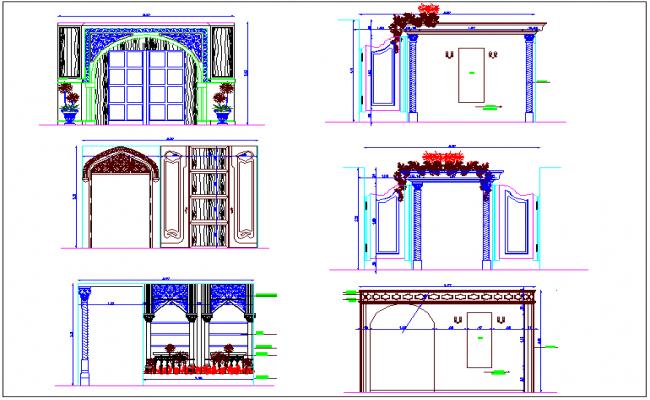 Different types design view of door in Islamic art dwg file