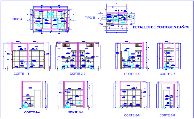 Different types of bathroom section and detail view for clinic dwg file