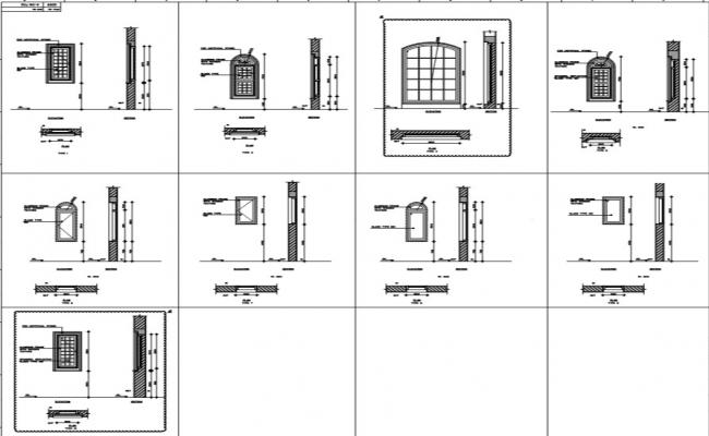 Elevation Plan Window : Different types of window detail with its plan section