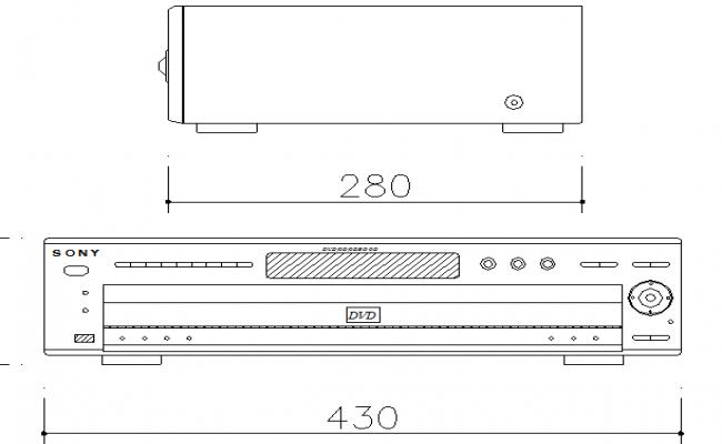 Digital video player cad block details dwg file
