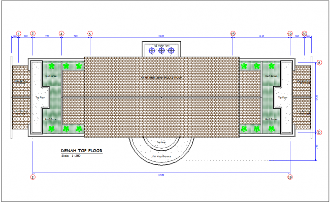 Dinah top floor office plan with roof area with construction view dwg file