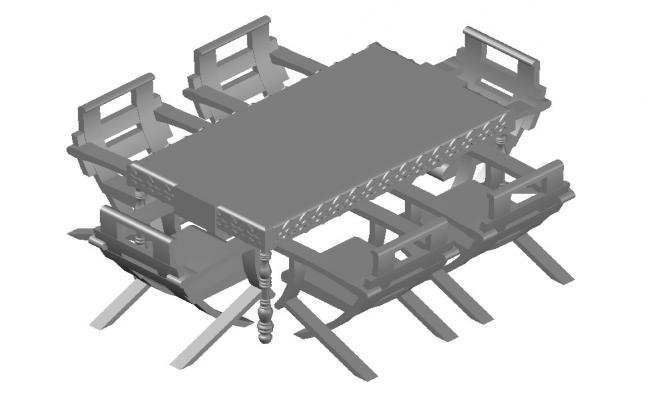 Dining Table 3d Model In AutoCAD Drawings