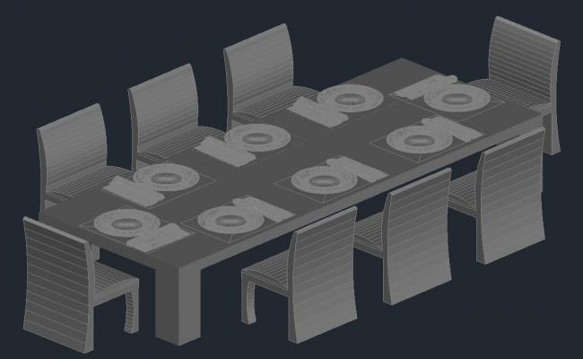 3d dining table model in  AutoCAD file