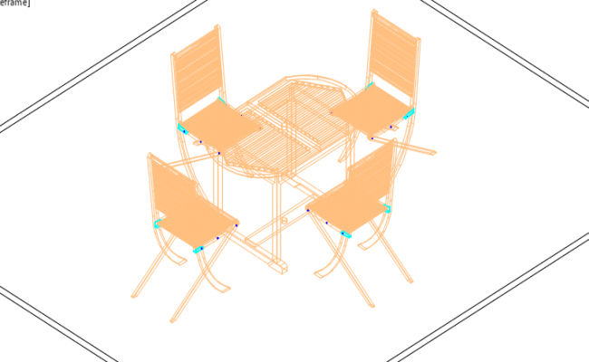 Dinner table 3D view detail dwg file