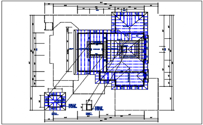 Direction roof elevation layout detail dwg file