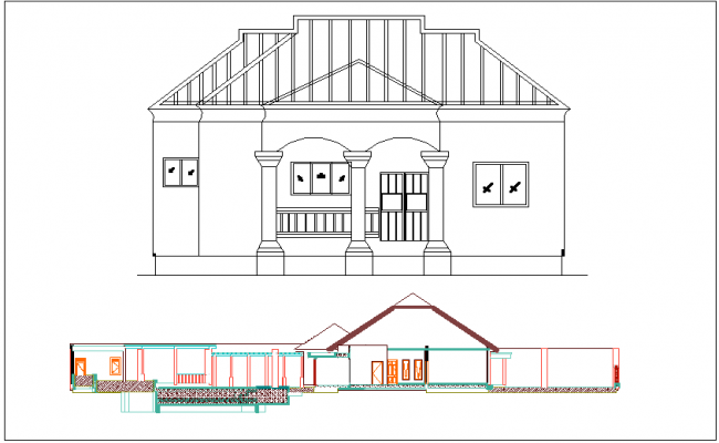 Director building front elevation and section view dwg file