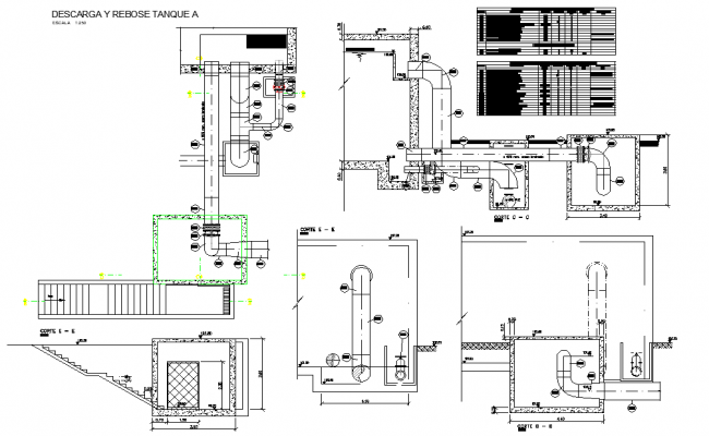 Discharge and overflow tansque detail dwg file