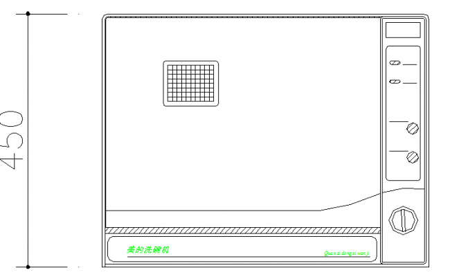 Dish washer cad block design dwg file