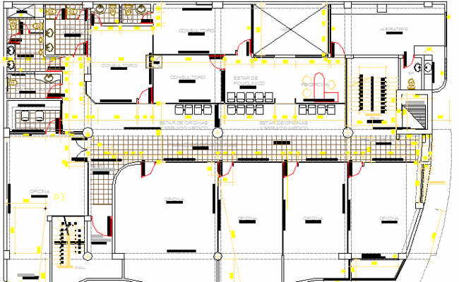 Distribution and Terrace Plan of Corporate Building Dwg file