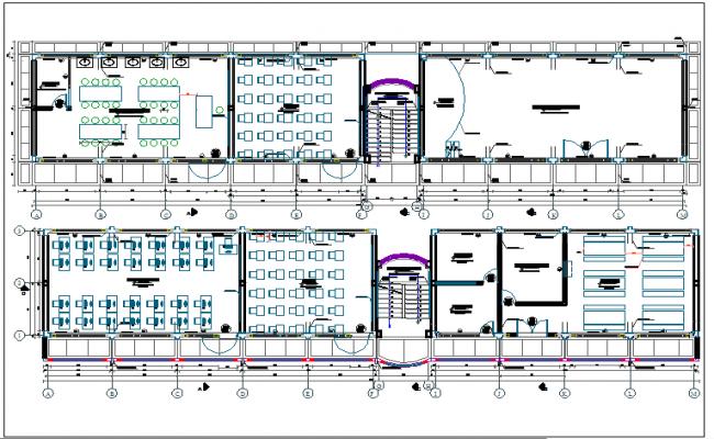Distribution floor plan of school dwg file