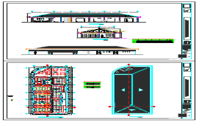 Distribution of bathrooms and dressing design drawing