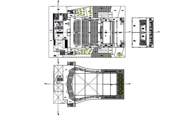 Distribution plan details of culture center dwg file