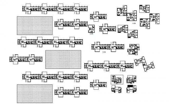 Distribution plan details of multi-flooring apartment floors dwg file