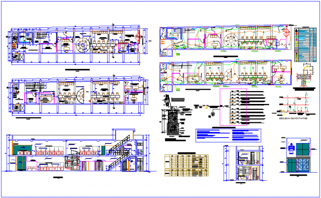 Distribution plan of admin office with door,window & electrical view dxf file