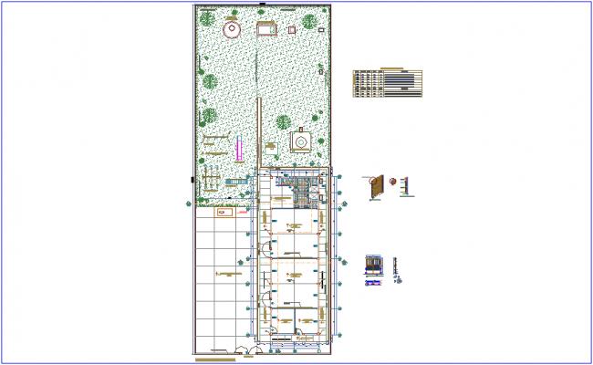Distribution plan with door and window detail of school dwg file