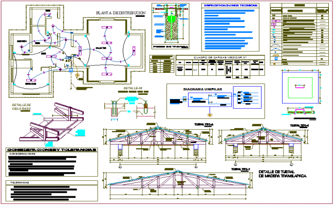 Distribution plan with view of pipe and electrical connection view with its legend for initial educative center dwg file