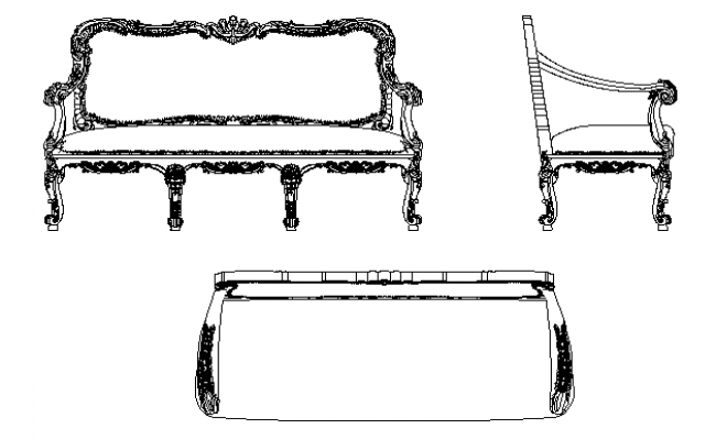 Diwan set furniture detailing dwg file