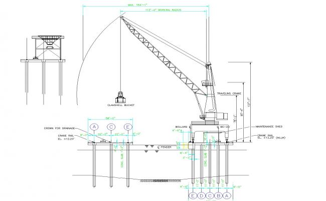 Dock of charge with cranes plan dwg file