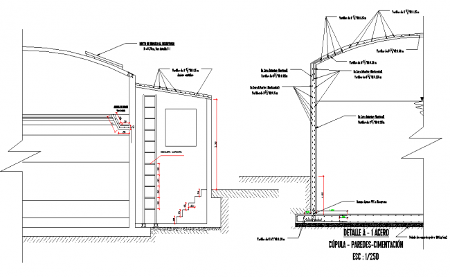Dome walls foundation dwg file