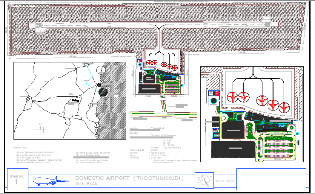 Domestic airport architecture project dwg file