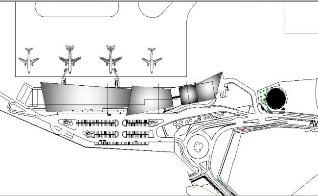 Domestic airport layout plan cad drawing details dwg file
